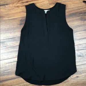LOFT Black mixed media split neck sleeveless top